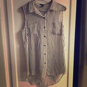 Tops - Forever 21 Black Stripe Sleeveless Pocket Blouse M